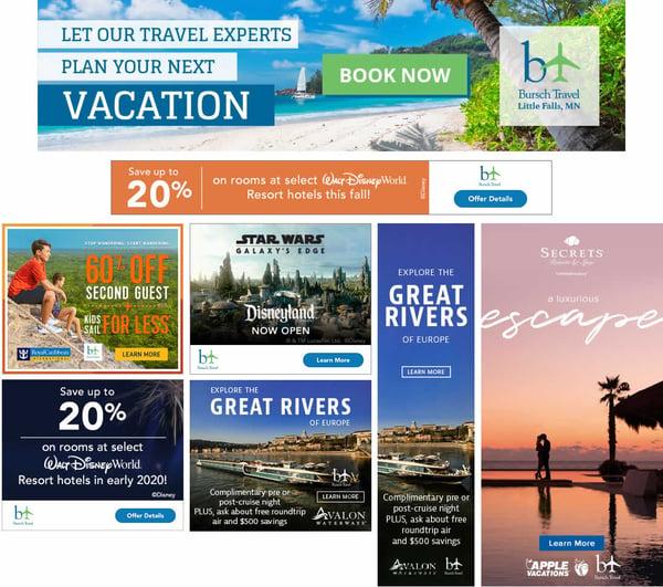 Bursh Travel Display Ad Examples