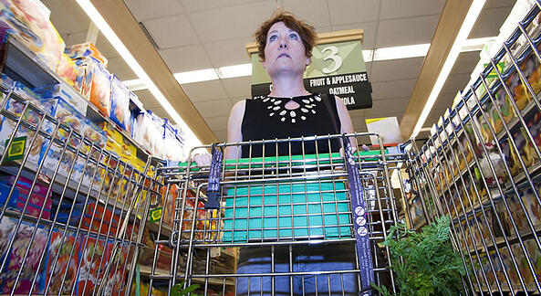 All About Bricks: Dramatizing & Positioning Your Business Against the Competition | Image of woman looking confused in the cereal aisle at a grocery story