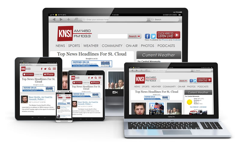 Banner Ads on KNSI Radio Website, Various Devices