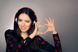 Image of a girl listening to headphones